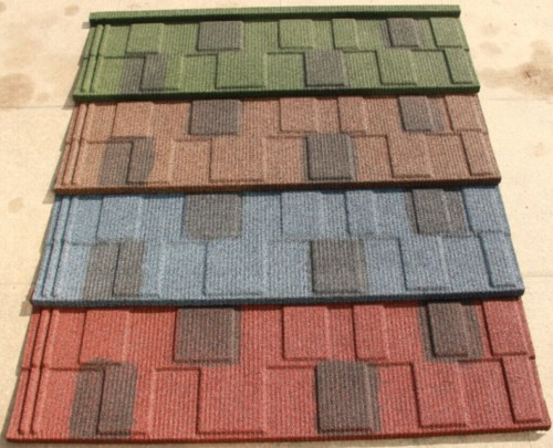 flat metal type colorful stone coated/ metal roofing tile
