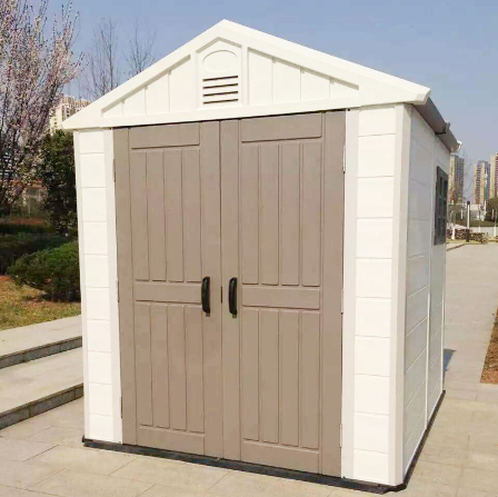 Outdoor plastic garden storage house