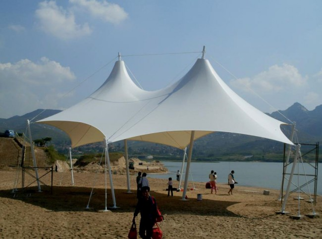 Tensile fabric structure for resort